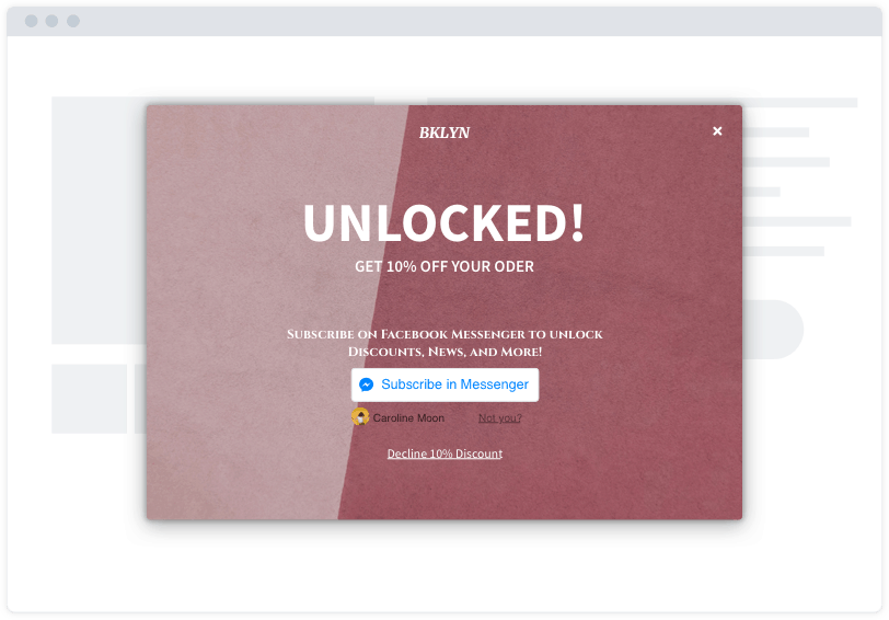 "A pink Facebook Messenger opt-in capture modal on a minimalist website mockup. The modal says ""Unlocked!"""