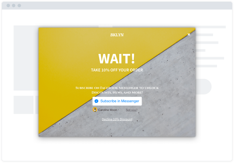 "A yellow and grey Facebook Messenger opt-in capture modal on a minimalist website mockup. The modal says ""Wait!"""