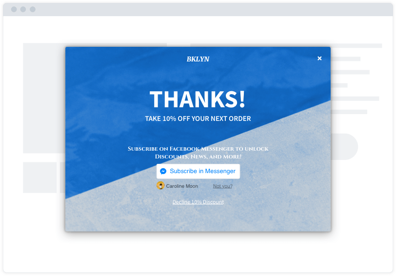 "A blue and grey Facebook Messenger opt-in capture modal on a minimalist website mockup. The modal says ""Thanks!"""