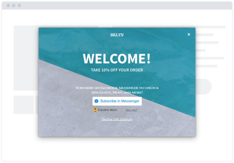 "A turquoise and grey Facebook Messenger opt-in capture modal on a minimalist website mockup. The modal says ""Welcome!"""