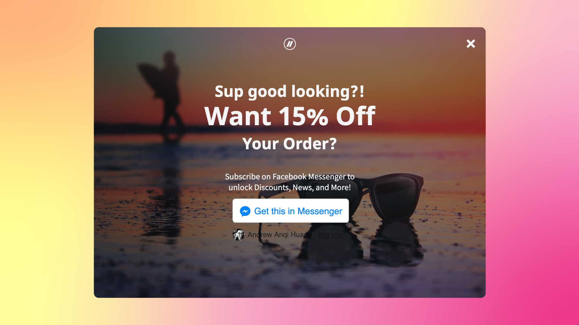 Blenders growth plugin overlay offering 15% off. Sunglasses on a warm sunset-reflecting beach with a blurry surfer in the backgorund.