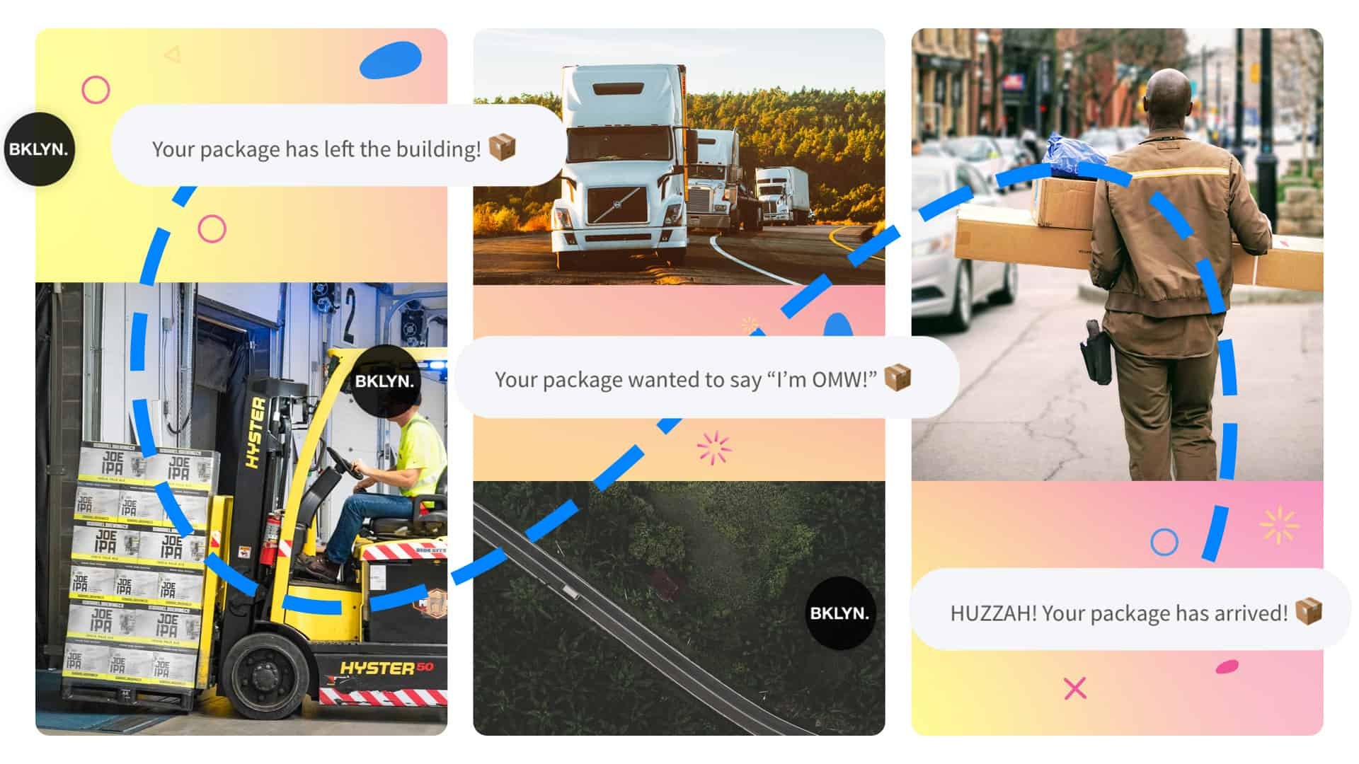 Three panels show message notifications related to an order leaving a warehouse, in transit, and the last mile delivery of the package.