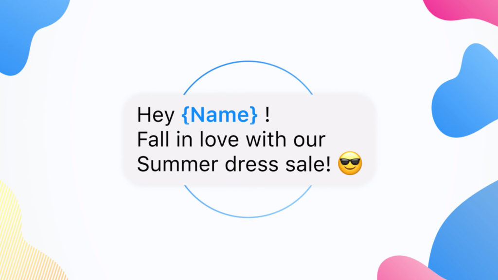 A greeting on Messenger with a placeholder for dynamically inserting the recipients name.